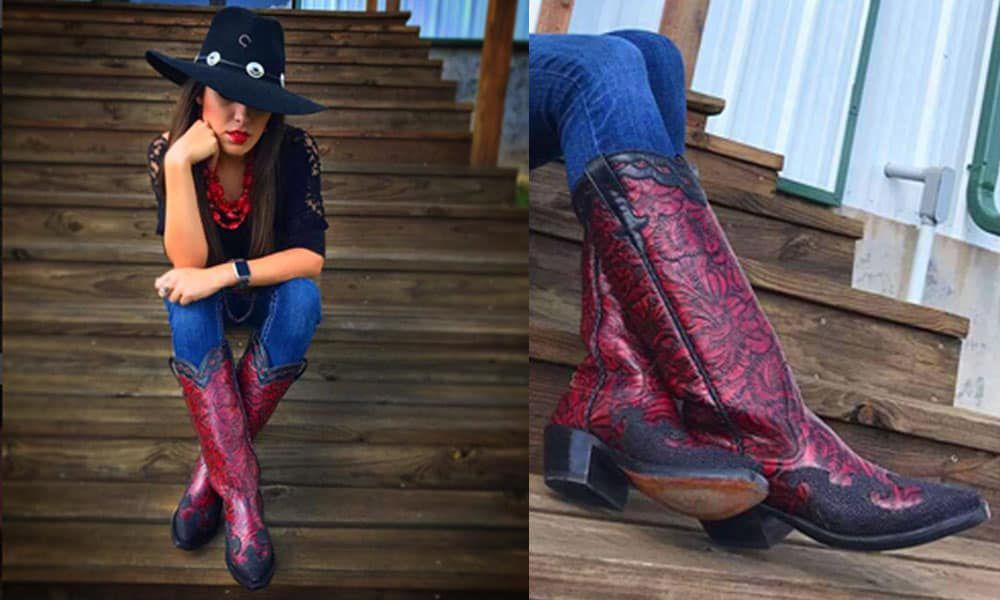 custom boots trunk show rios of Mercedes Anderson bean Olathe stingray red floral tooled tooling custom is cool saddle rags the western store cowgirl magazine