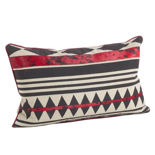 Cowhide+Tribal+Design+Down+Filled+Cotton-Leather+Lumbar+Pillow