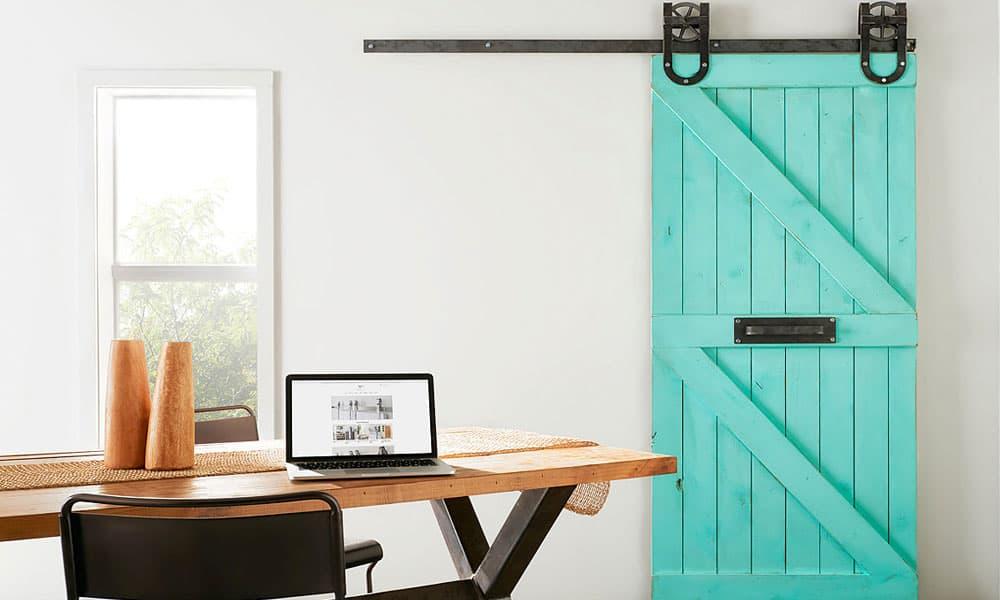 turquoise barn doors