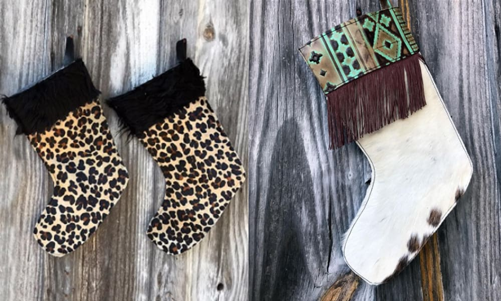 vandi vann vjv designs christmas sassy stockings cheetah leopard fringe holiday holidays mantle decorations winter cowgirl