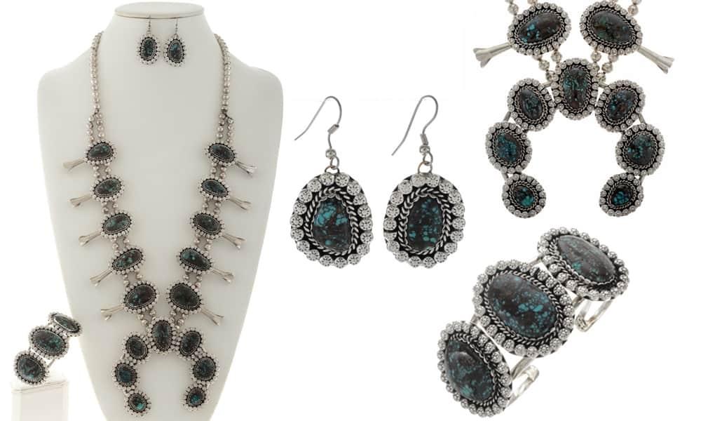 squash blossoms squash blossom turquoise Native American genuine turquoise navajo cowgirl magazine jewelry