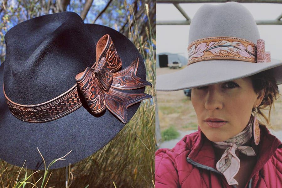 tooled hat band hats leather cowgirl magazine