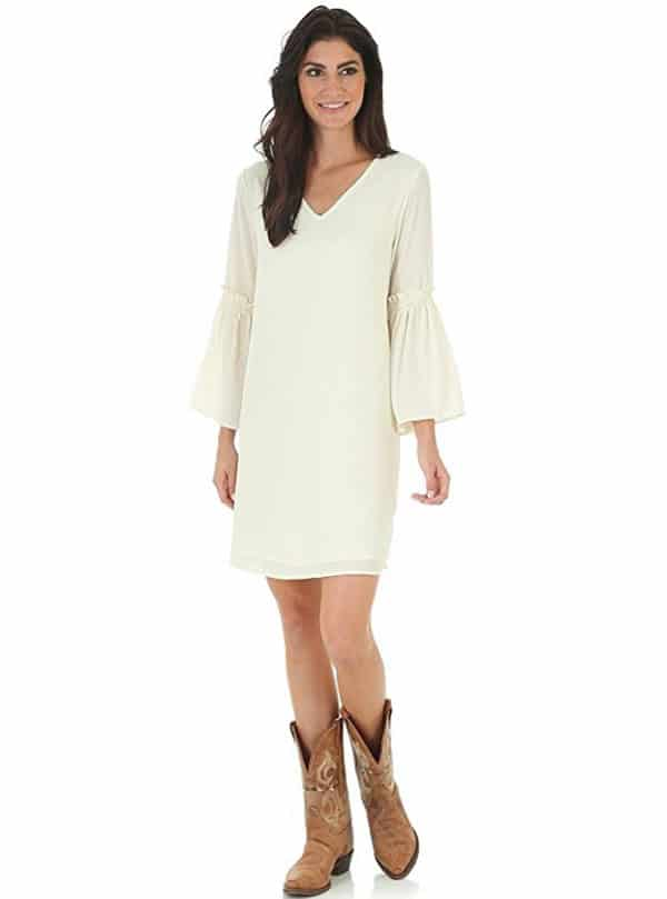 5ddbcb8a4d1 western dresses winter wedding fashion style cowgirl magazine. Wrangler  Women s Cream V Neck Dress ...