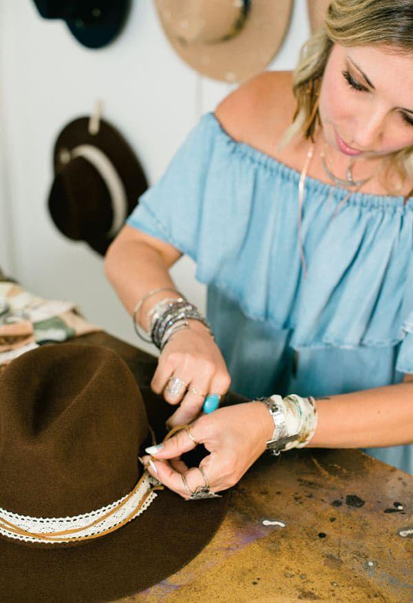 Bone X Dawn creator, Dawn Dafgek, at work on a hat band. cowgirl magazine