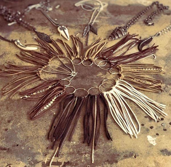 leather fringe earrings, bone necklaces, bone x dawn, cowgirl magazine