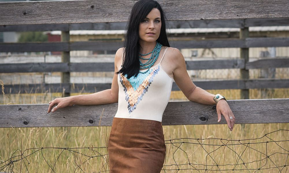 Ranch Rouge Cowgirl Magazine Aquinnah O'Keefe Brown leather skirt