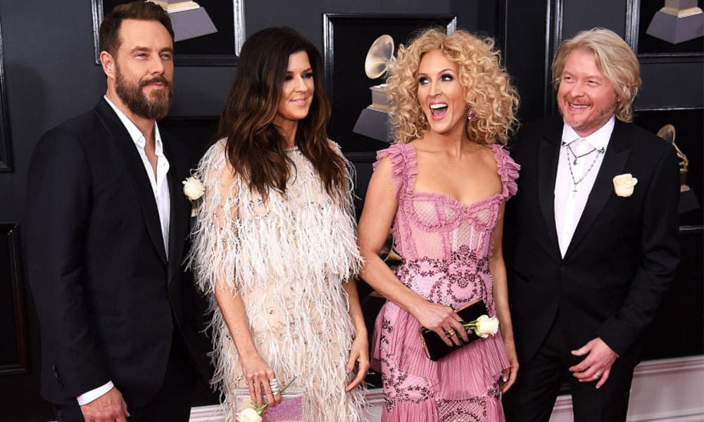 Little Big Town Karen Fairchild, Kimberly Schlapman, Jimi Westbrook, and Phillip Sweet on the red carpet of the 60th Annual Grammy Awards, 2018 Cowgirl Magazine