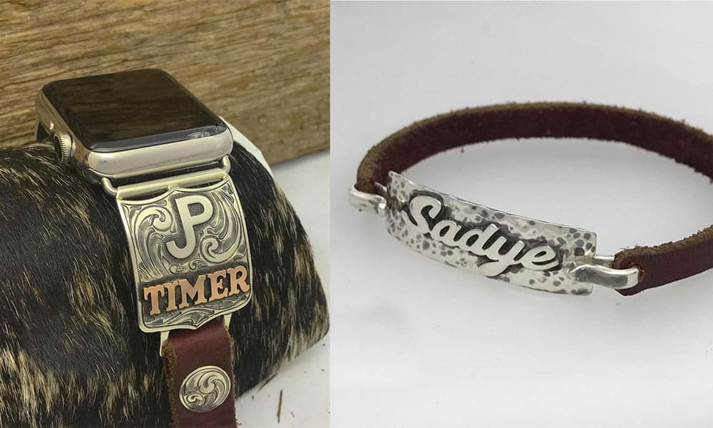 b bar j custom designs silver silverwork engraving engrave silversmith apple watch bracelet cuff cowgirl magazine