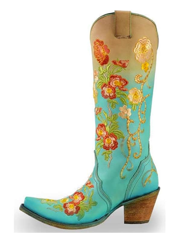 Corral flower turquoise and orange boots cowgirl magazine