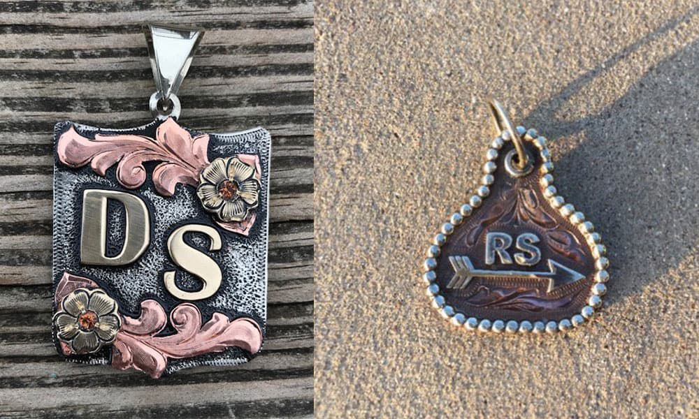 Outlaw Spirit hand engraved necklace pendant and tag cowgirl magazine