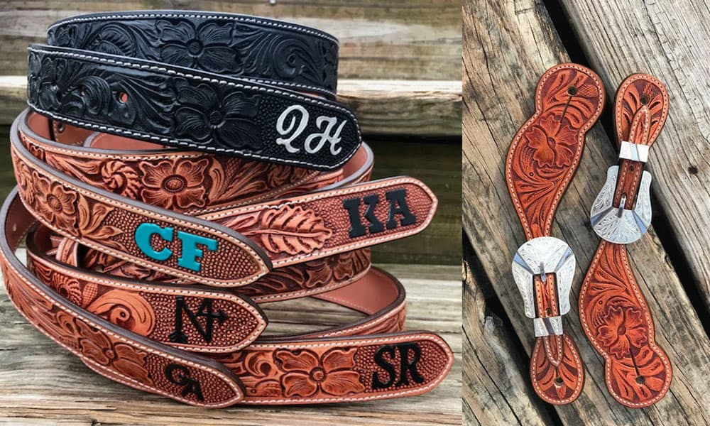 Outlaw Spirit hand tooled leather belts and spur straps Cowgirl Magazine