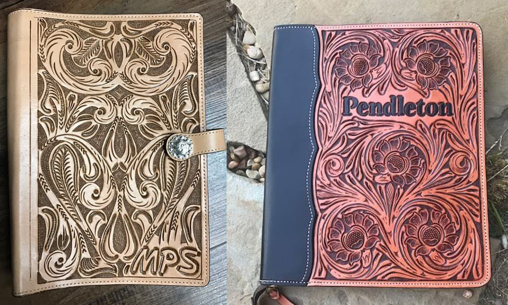 Outlaw Spirit hand-tooled leather planners and portfolios Cowgirl Magazine