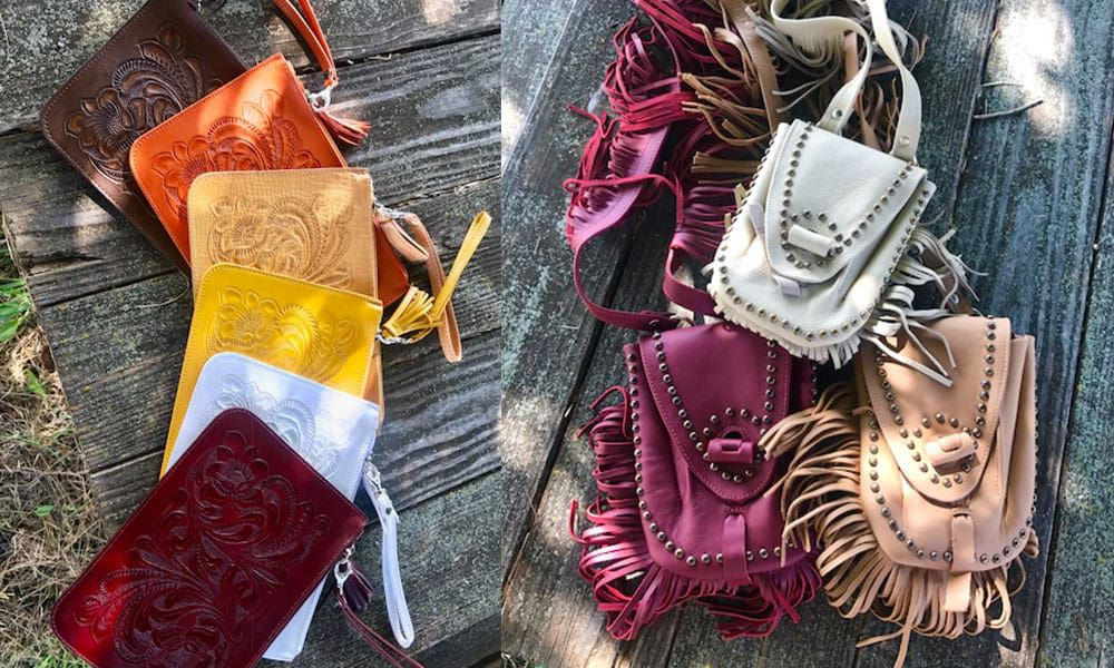 Outlaw Spirit hand-tooled leather clutches, wallets, and bags Cowgirl Magazine