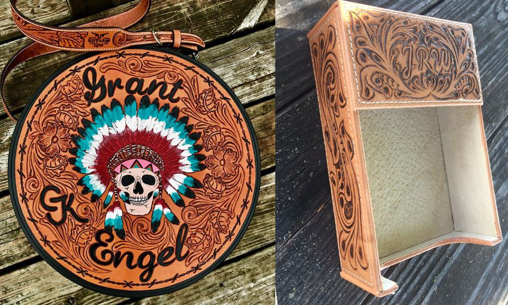 Outlaw Spirit hand-tooled custom leather rope bag and desk organizer Cowgirl Magazine