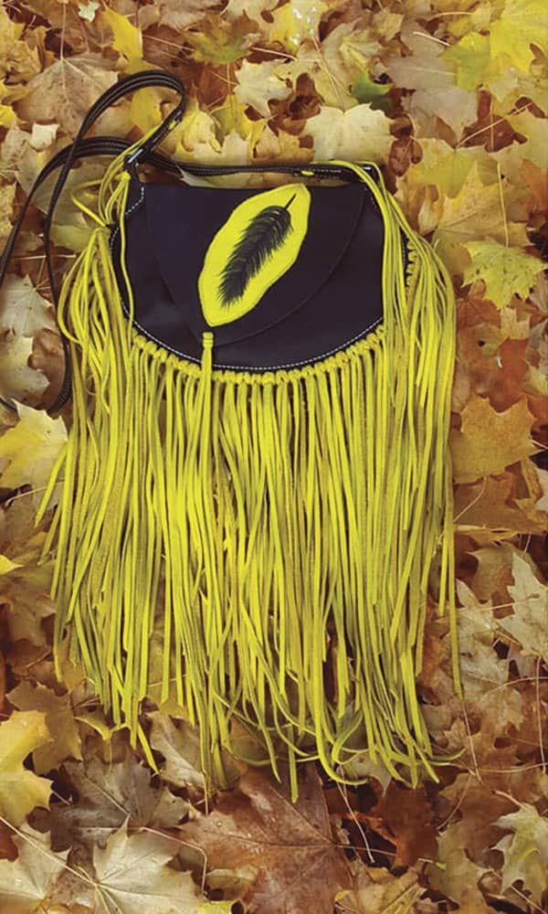 Ranch Rouge Cowgirl Magazine Yellow leather fringe purse photo by Trish Knight
