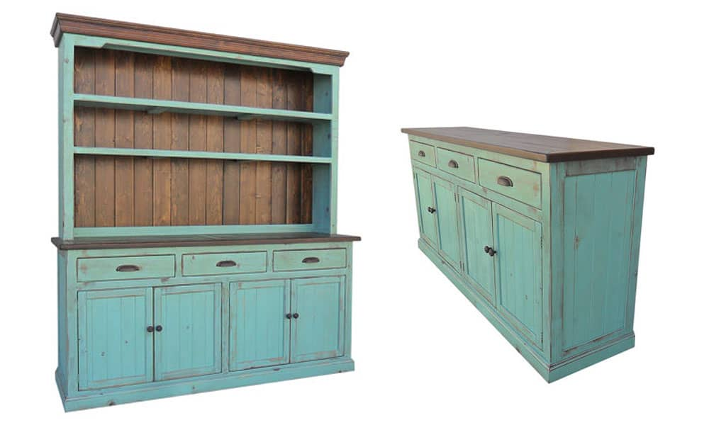 Turquoise Blue Hutch and Sideboard Buffet Cowgirl Magazine