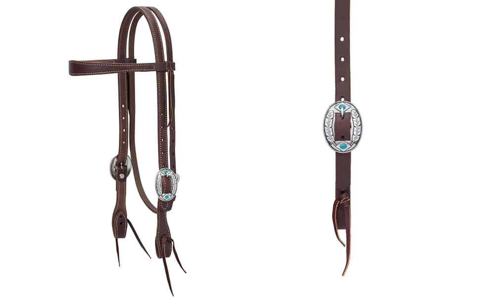 Weaver Leather headstall silver buckle with feather and turquoise detail cowgirl magazine
