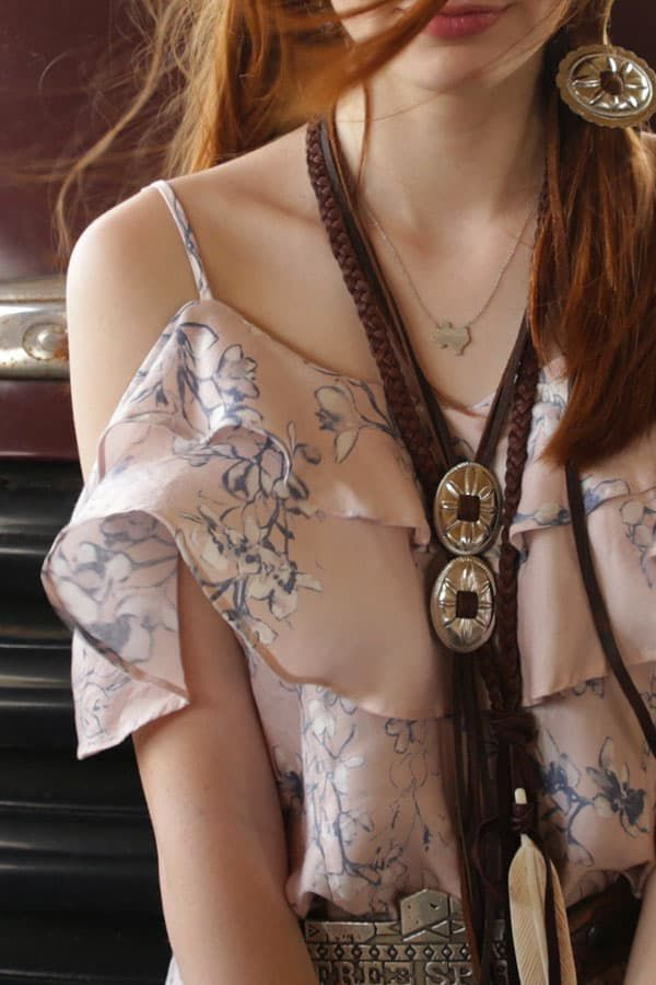 Junk Gypsy brown braided leather concho necklace cowgirl magazine
