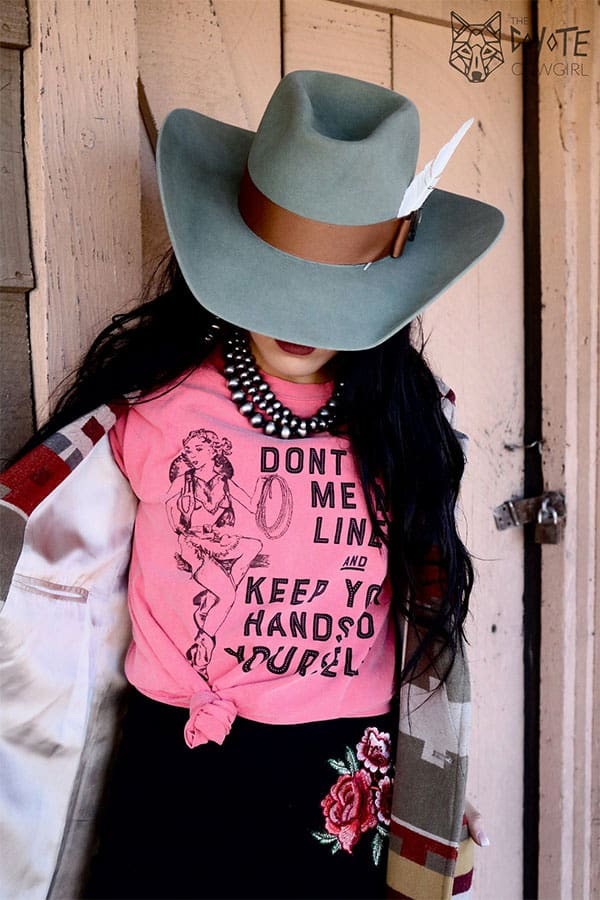 The Coyote Cowgirl pink Hand Me No Lines graphic t-shirt cowgirl magazine