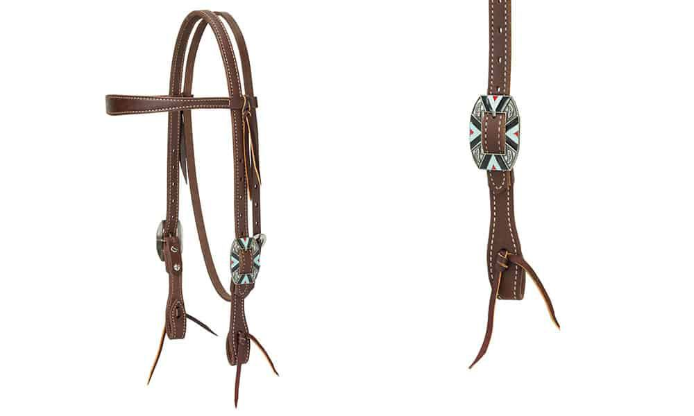 Weaver Leather headstall with southwest design cowgirl magazine