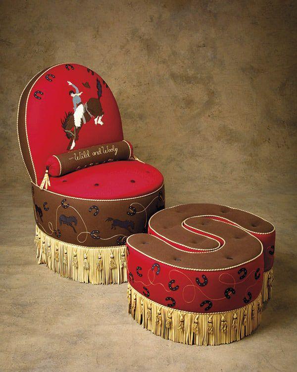 wool gabardine chair nesting footstools Anne Beard Cowgirl Magazine Capturing West