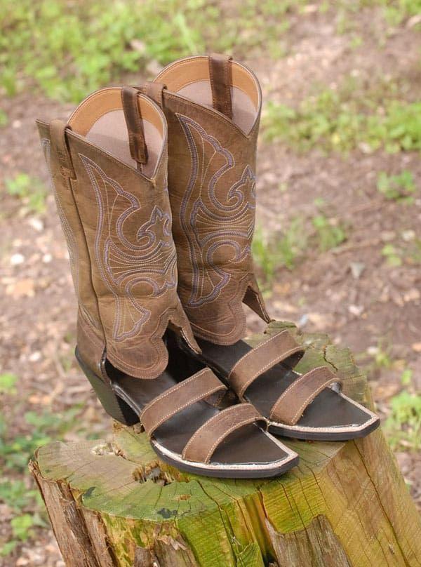 redneck sandals cowboy boot sandals double strap style