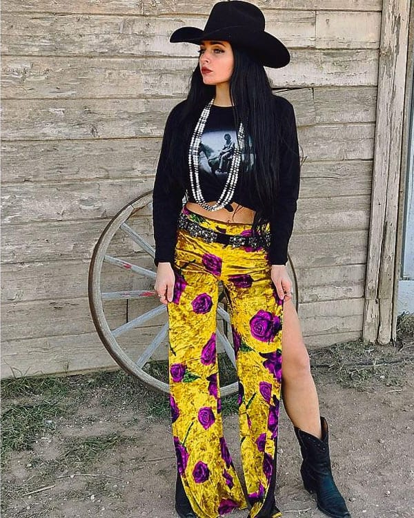 Lil' Bee's Bohemian yellow floral print velvet pants