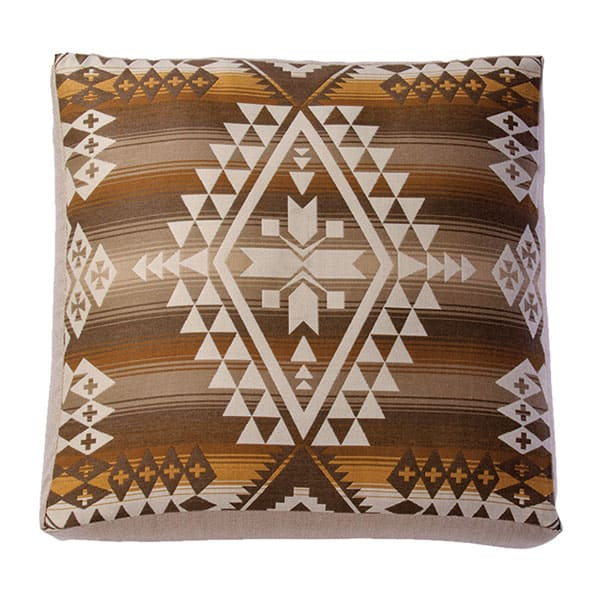 brown tribal native print square pillow cushion pendleton sunbrella