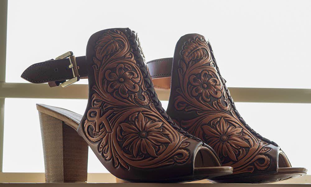 Jason Becker custom leather bride bridal shoes tooled leather wedding weddings wedding shoes cowgirl magazine