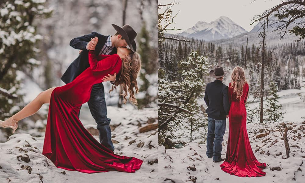 Montanna thurtnell troy Wilkinson pbr engagement session canada velvet dress red