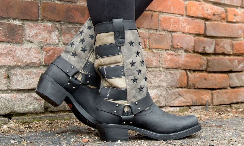 durango boots black faded flag harness boots
