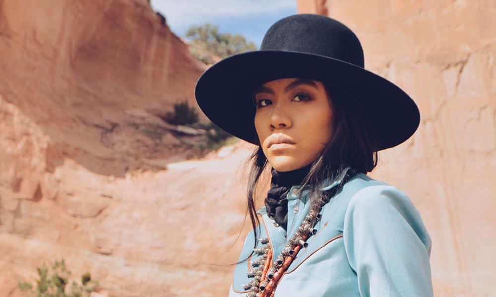shondina lee she and turquoise photo black hat blue shirt squash blossom western fashion