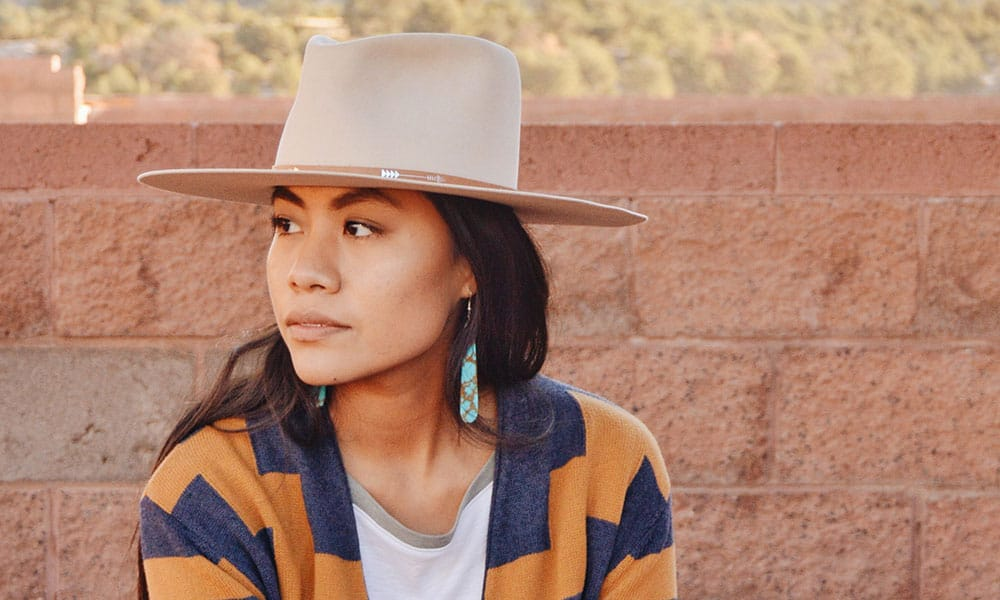 shondina lee she and turquoise portrait hat turquoise earrings photo