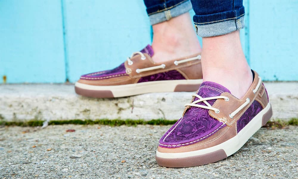 durango boots music city womens western boat moc purple