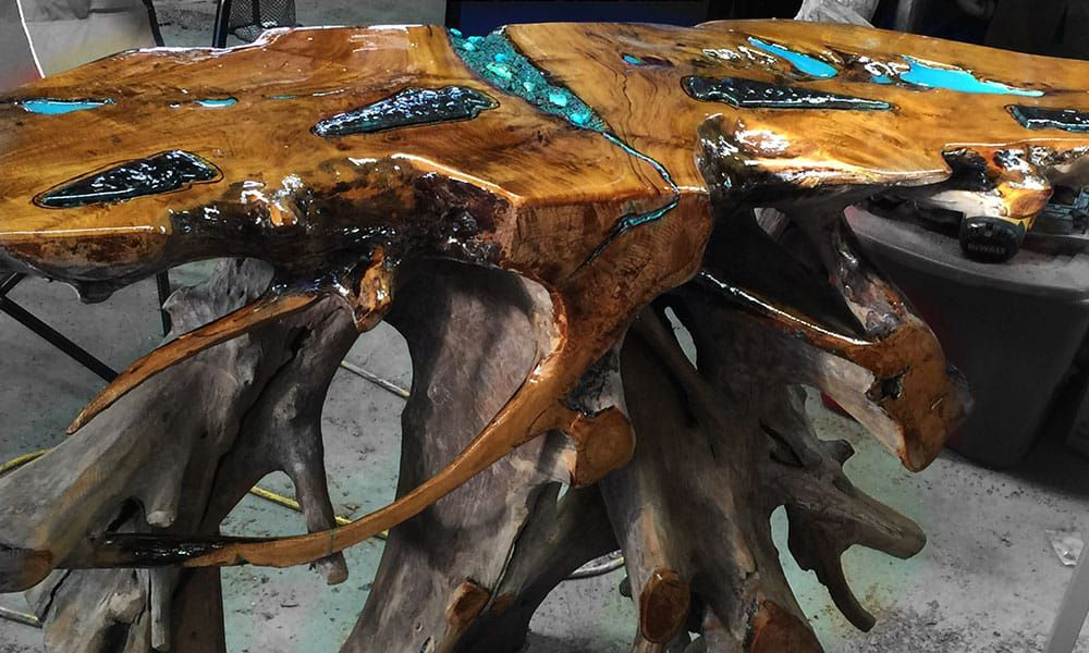 wood turquoise inlay table by touch of earth