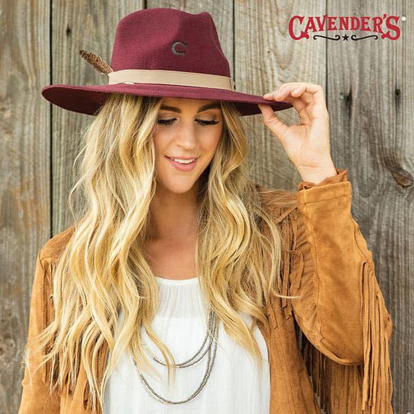 cavenders western fall fashion womens maroon felt hat fringe jacket