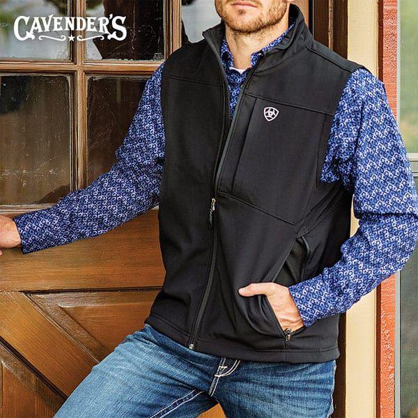 cavenders western fall fashion mens ariat softshell vest black