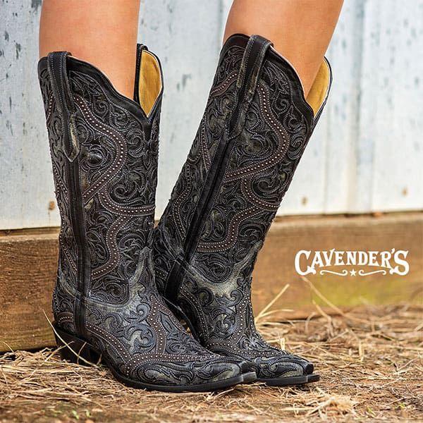 cavenders western fall fashion womens corral black cowboy boots