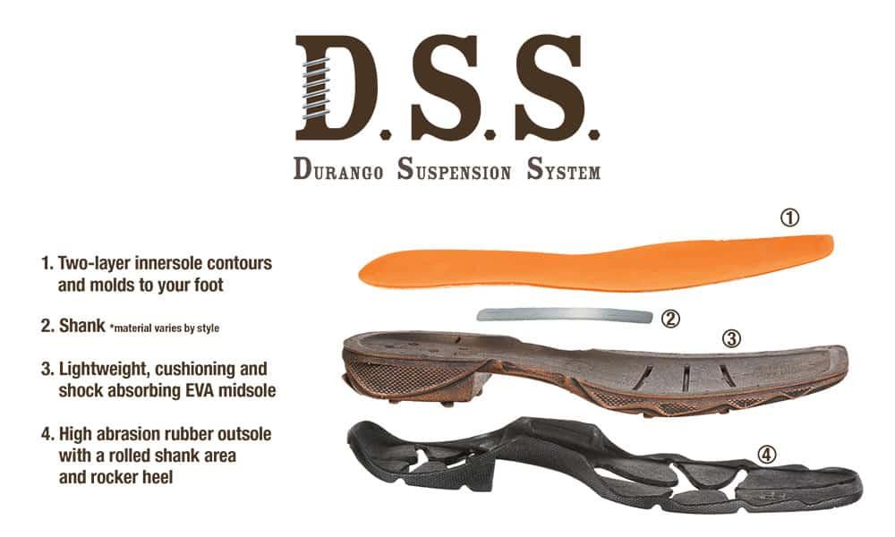 durango boots D.S.S. durango supsension system technology infographic
