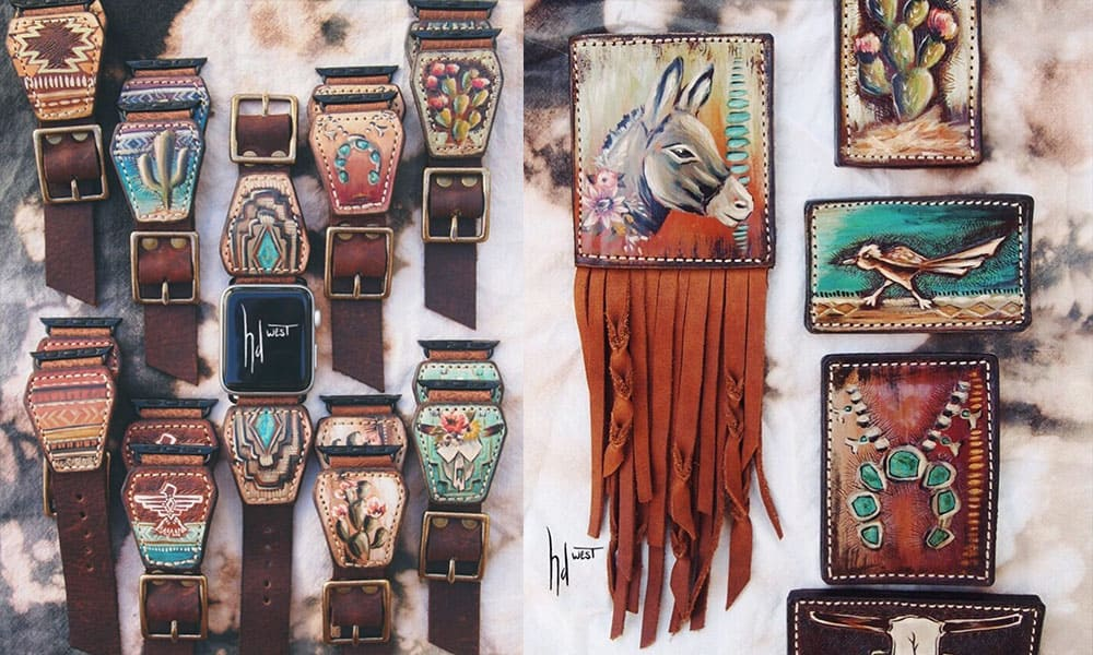 hd west painted leather tooled leather cowgirl magazine