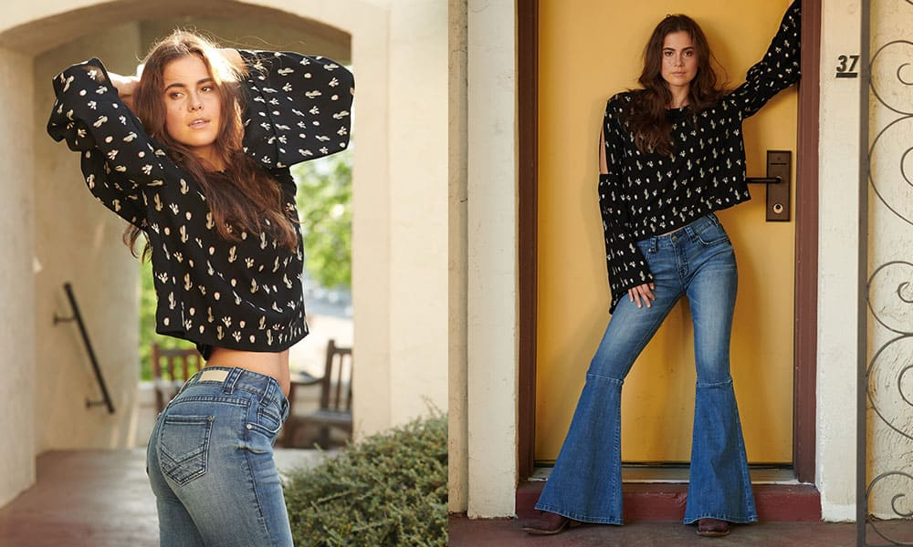 rock and roll cowgirl bell bottom flare jeans denim cacti top blouse black