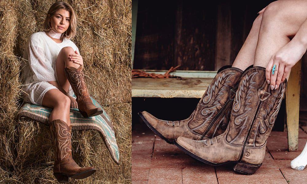 Crush Durango Women's Scall-upped Western Boot Dream Catcher Distressed Brown