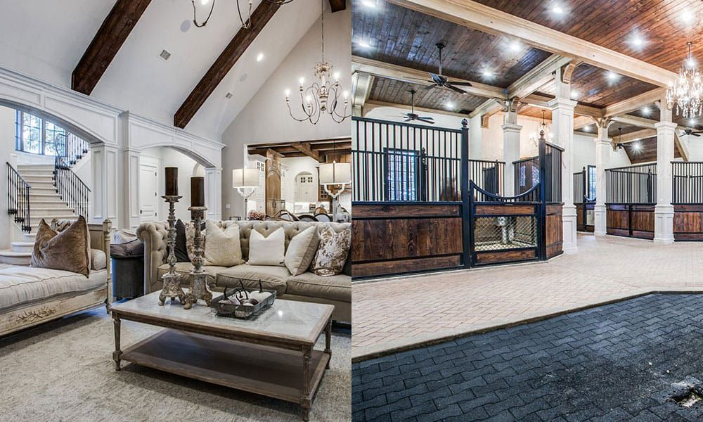 country castle mansion barn cowgirl magazine living room family room horse barn dining area open floor plan kitchen island