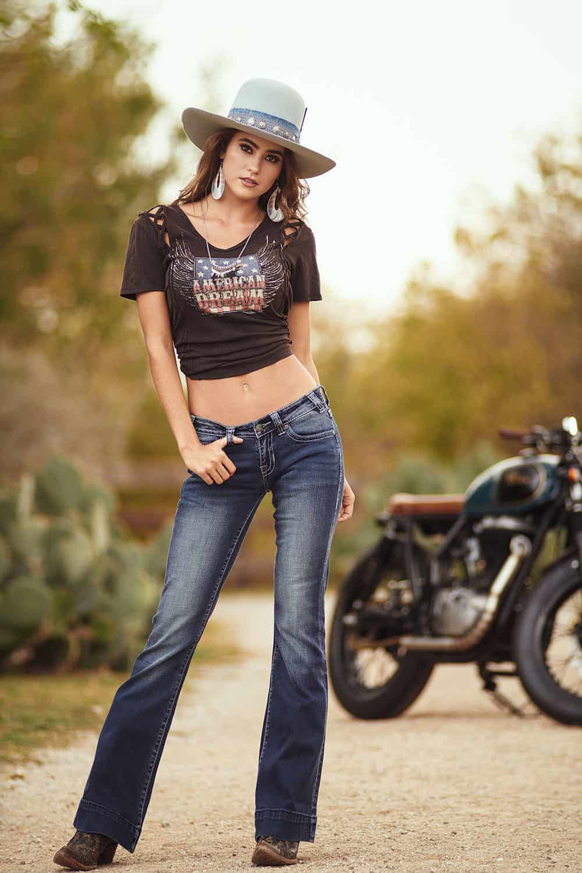 black criss cross top harley americana graphic tee trouser jeans denim