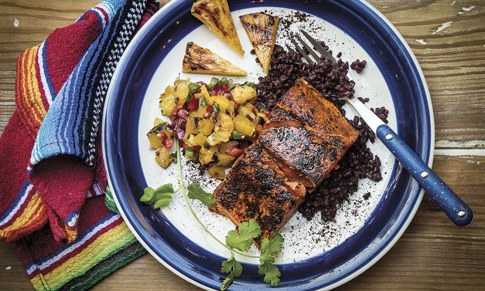 Recipes Chile-Rubbed Salmon Grilled Pineapple Salsa Cowgirl Magazine