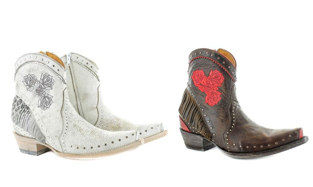 katie bootie fringe white brown red rose embroidered leopard print studs western old gringo