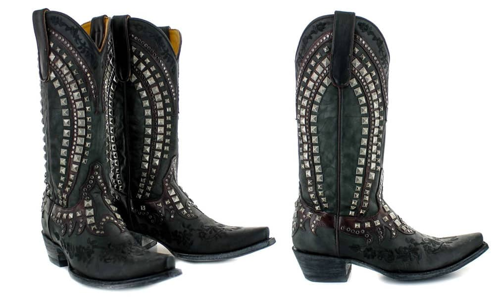 kress studded black western boot embroidered roses old gringo