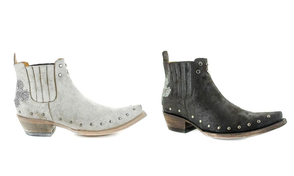 melanie white black embroidered rose western bootie old gringo boots