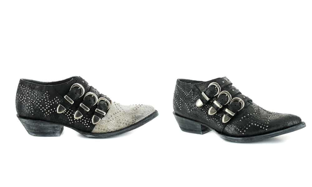roxy studded buckle black white western shoe old gringo