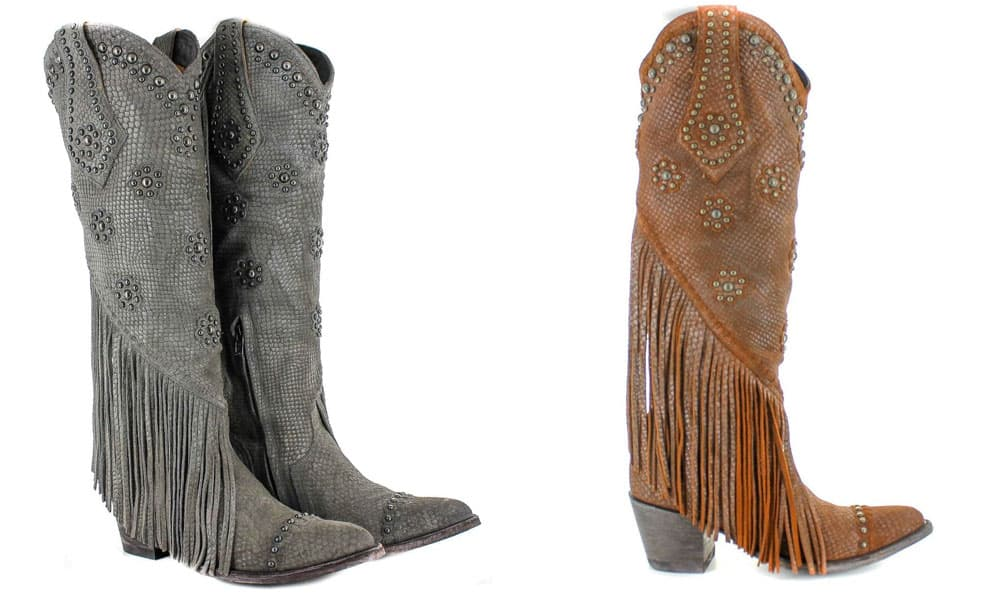 savannah tall western boot fringe studs snake print grey brown old gringo